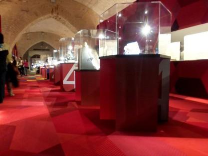 Le vetrine della mostra