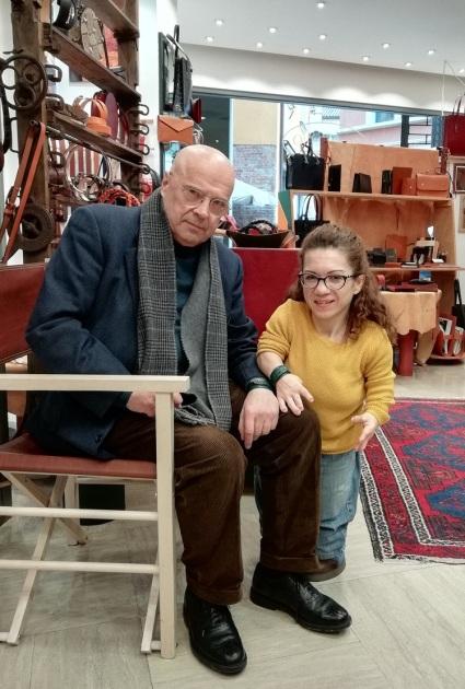 Nanabianca e Mario Gastaldin nel negozio Cordovano