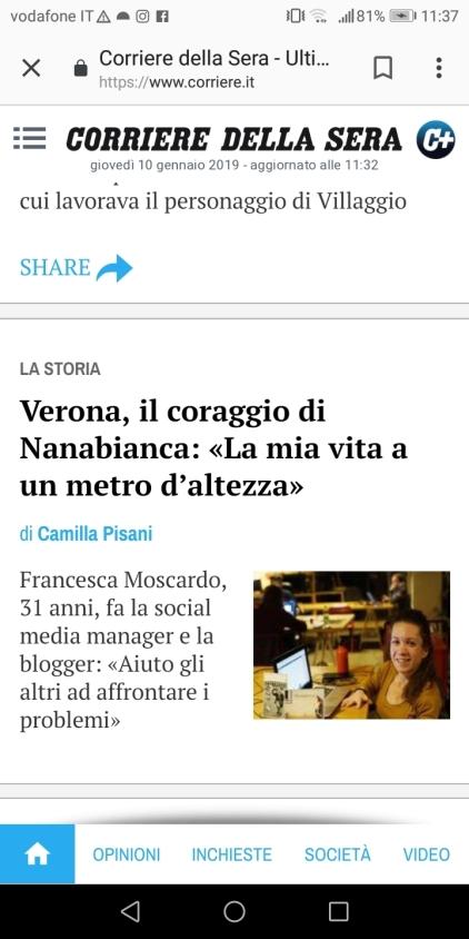 Nanabianca in homepage del Corriere della Sera