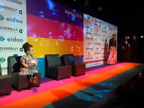Nanabianca sul Rainbow Carpet dei Diversity Media Awards